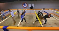 """Ever looked at a foosball table and thought """"man, I would love to be one of those little plastic guys"""" ? Well now's your chance in at St. Louis's first human foosball tournament. Best Foosball Table, Human Foosball, Soccer Center, Popular Toys, Red Team, Cool Tables, Guinness World, Group Games, First Humans"""