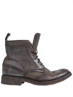 PAUL VAN HAAGEN rolls out these stone washed Swallow Tail boots with brogue detailing, hand burnishing & pull tab. want want