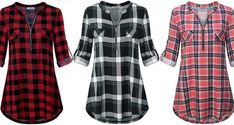 Women's Zip Up V Neck 3/4 Rolled Sleeve Casual Tunic Shirt Plaid Tunic, Tunic Shirt, Work Shirts, How To Roll Sleeves, Put On, Casual Shirts, Going Out, Zip Ups, V Neck