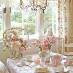 English tea party ...Flowers in basket is awesome!!