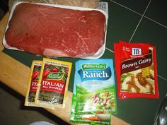 Crock Pot London Broil  INGREDIENTS: 1 London Broil, about 2 1/2 lbs. 8 medium to large potatoes 2 packages Italian Dressing Mix 2 packages Ranch Dressing Mix 2 packages Brown Gravy Mix 1 cup cold water