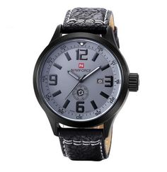 e75d30ecb81 Relógios homens NAVIFORCE marca Quartz relógio de couro moda Casual reloj  hombre militar do exército esporte