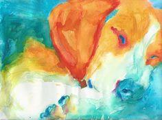 Beagle painting dog art print Giclee Print colorful modern art beagle owner gift…