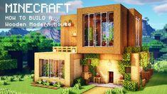 Minecraft: How To Build a Wooden Modern House Minecraft Mods, Minecraft Villa, Architecture Minecraft, Modern Minecraft Houses, Minecraft House Plans, Minecraft Mansion, Minecraft Cottage, Minecraft Interior Design, Minecraft House Tutorials
