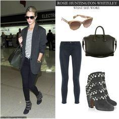Rosie Huntington-Whiteley in grey jacket with black embellished ankle boots, dark blue skinny jeans, stripe top