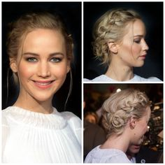 Copia el recogido boho con trenzas de Jennifer Lawrence In full promotion of the new film of & # Ponytail Hairstyles, Pretty Hairstyles, Wedding Hairstyles, Quick Hairstyles, Everyday Hairstyles, Vintage Hairstyles, Summer Hairstyles, Medium Hair Styles, Curly Hair Styles