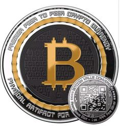 Bitcoin 1 oz .999 fine Solid silver commemorative NEW! Value conversion QR code