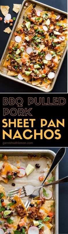 BBQ Pulled Pork Sheet Pan Nachos - Garnish with Lemon  Recipes: Tailgating and Game Day Recipes These BBQ Pulled Pork Sheet Pan Nachos are loaded with flavor and are served straight from the pan for easy clean up. Perfect food for the big game! Recipes Appetizers And Snacks, Tailgating Recipes, Easy Appetizer Recipes, Yummy Appetizers, Pork Recipes, Mexican Food Recipes, Cooking Recipes, Healthy Recipes, Game Recipes