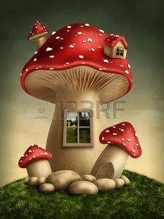 Fantasie Pilz Haus im Wald Lizenzfreie Bilder