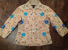 100% Silk Embroidered Shirt/Light Jacket Small New by Silk Land $9.99