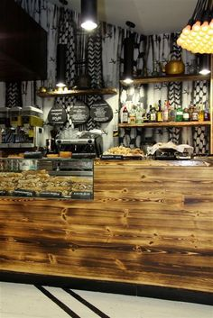 wood bar display