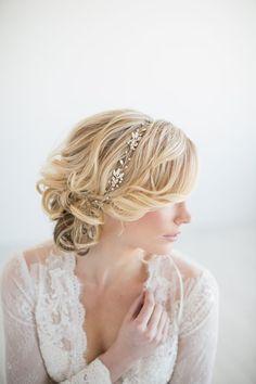 Hochzeit Haar Rebe Gold Braut Kopf Stück Braut von PowderBlueBijoux