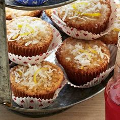 Grandma Yearwood's coconut cupcakes with coconut lemon glaze from Better Homes and Gardens Magazine, July 2013 by Kim Severson and Trisha Yearwood
