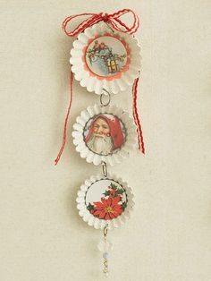 Santa Tart-Tin Wall Display - I think they painted tin white put vintage pictures in I love Better Home and Gardens craft site, try it out!