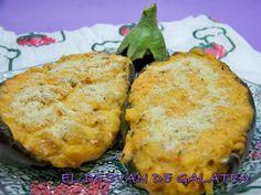 EL DESVAN DE GALATEA BERENJENAS RELLENAS DE SALMON Y QUESO http://eldesvandegalatea.blogspot.com.es/2011/07/berenjenas-rellenas-de-salmon-y-queso.html