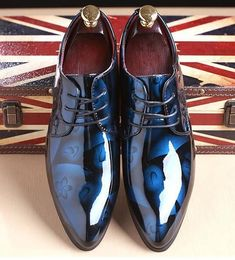 Men Dress Shoes Shadow Patent Leather Groom Wedding Oxford Shoes 38-48 Blue  11 Mens f0c9d5beffa9