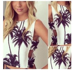 Beautiful palm tree tank top. NOW AVAILABLE Cute Palm tree tank top with open sides. Brand new with tags Yangelo Tops Blouses