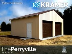The Perryville - 24 x 24 x 10 View, configure and price this building at http://www.MyPoleBuilding.com/