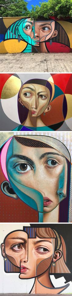 Cubism and Realism Collide in New Murals and Paintings by 'Belin'