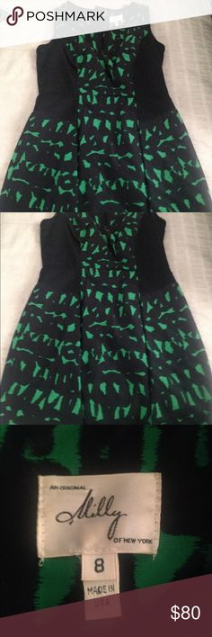 Milly Dress Milly Size 8 dress (fits like a 6!) fun pattern and zip top and pockets!  Excellent condition with no stains on rips.   Extremely cute with black tights and boots or with sandals!  Thick Cotton/Silk blend Milly of New York Dresses Mini