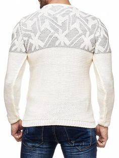 K&D Men Stylish Maze Top Pullover Sweater - Cream