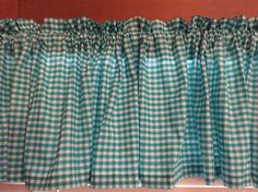 Teal and White Gingham Kitchen Valance ~ 42 Inches Wide by CheriesSewCrafty on Etsy