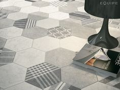 Hexatile Cement White, Grey / deco GEO Grey