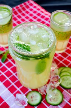 The most refreshing lemonade ... flavored with cucumber and fresh mint. Perfect for summer!   giverecipe.com (substitute the sugar with pear juice or another sweet favorite)