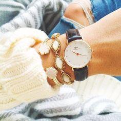 daydreamin'  http://dailydoseofdaydreamin.tumblr.com/  #watch #knitwear #jeans #gold #white #grey #bracelet #fashion