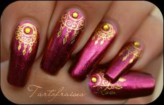 Gold and Cranberry Nail Art India