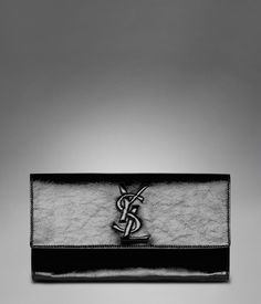 Large YSL Clutch in Black Patent Leather