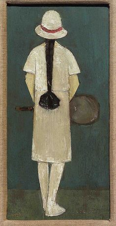 To celebrate #Wimbledon we look at #Tennis in #Art. Painting# by LS #Lowry The Tennis Player (1927)