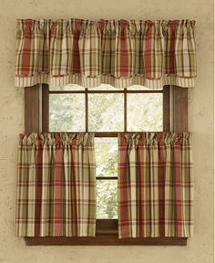 "Heartfelt tier 36"" plaid curtain"