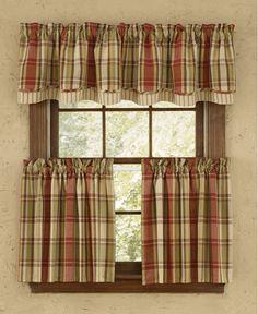 """Heartfelt tier 36"""" plaid curtain"""