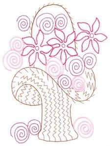Embroidery.com: Outlined Flower Basket (MacroHoop): Individual Designs