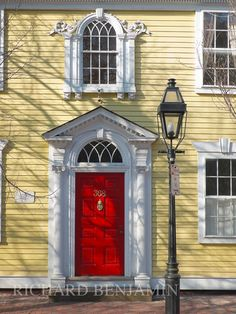 "Providence, Rhode Island. One of the many restored 18th century homes on Providence's ""Mile of History"" - Benefit Street."
