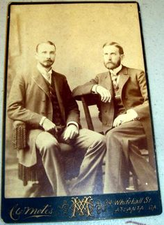 Cabinet Card of two professional looking gentleman taken at the Motes Studio in Atlanta.