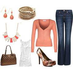 Afternoon out...peach sweater over white tank...nice accessories too!