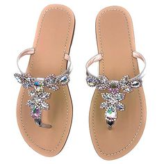 b1303c8b0 online shopping for azmodo Women s Silver Jeweled Hand Crafted Crystal Flip  Flops Rhinestones Flats Sandals from top store. See new offer for azmodo  Women s ...