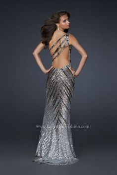 #La Femme 17303 at Prom Dress Shop  shoulder dresses  #2dayslook #shoulder style # shoulderfashion  www.2dayslook.com