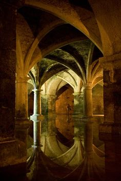 This incredible structure in El Jadida, Morocco, is almost pitch black apart from one ray of sunshine coming through the roof and creating a wonderful reflection in the pool of water below.