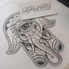 Cool Dotwork Elephant Hamsa Tattoo Design