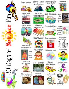30 day summer fun calendar