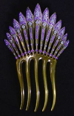 Antique Art Deco Hair Comb  #purple [reminds me just a bit of Game of Thrones!]