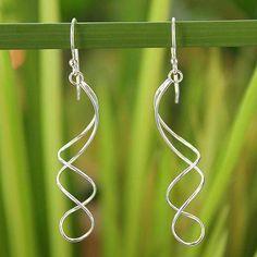 Sterling silver dangle earrings, 'Gentle Sigh' - Handcrafted Modern Sterling Silver Dangle Earrings