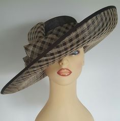 Ladies Wedding Hat Races Mother Bride Ascot Hat Brown / Gold by Whiteley