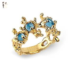 18k Yellow Gold Plated Sterling Silver Natural Swiss Blue Topaz Gemstones Coral Reef Organic Statement Ring, Size 4 to 13 - Wedding and engagement rings (*Amazon Partner-Link)