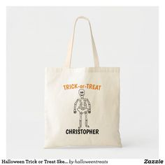 Halloween Trick or Treat Skeleton Tote Bag