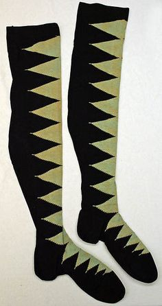 These are stockings from the During this time, decorative stockings were very popular with women, something which had not really been seen up to this point. These stockings are American and made of silk and can be found at the Met. Silk Stockings, Vintage Stockings, Sock Shoes, Shoe Boots, Vintage Halloween Images, Body Hugging Dress, Belle Epoch, Period Outfit, Crazy Socks