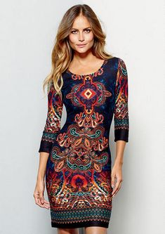 So pretty! Colleen Printed Sweater Knit Dress #MyAlloy #Dresses #Paisley